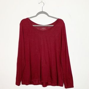 Eileen Fisher Silk Blend Long Sleeve Top Burgundy